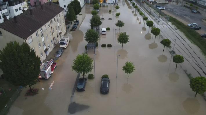 Die überflutete Meßkircher Straße.